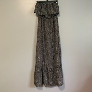 One Clothing Patterned Strapless Maxi Dress C6